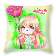 Happy Mother's Day Furry Girl Throw Pillow