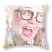 Happy Nerd Girl Singing Karaoke And Dancing Throw Pillow