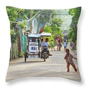 Happy Philippine Street Scene Throw Pillow by James BO  Insogna