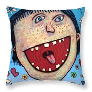 Happy Pill Throw Pillow by James W Johnson
