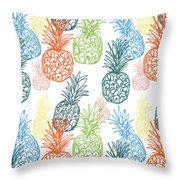 Happy Pineapple- Art By Linda Woods Throw Pillow