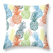 Happy Pineapple- Art By Linda Woods Throw Pillow