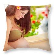Happy Pregnant Girl On The Beach Resort Throw Pillow