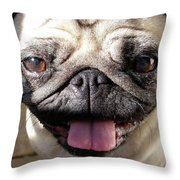 Happy Pug Throw Pillow