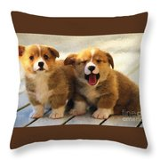 Happy Puppies Throw Pillow