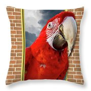 Happy Red Parrot Throw Pillow
