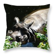 Happy Rhino Throw Pillow