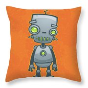 Happy Robot Throw Pillow by John Schwegel