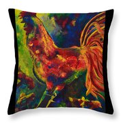 Happy Rooster Family Throw Pillow