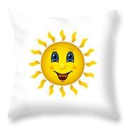 Happy Smiling Sun Throw Pillow
