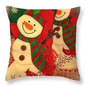 Happy Snowmen Throw Pillow