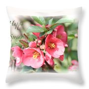 Happy Spring Flowering Quince Card And Poster Throw Pillow