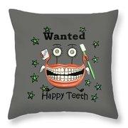 Happy Teeth T-shirt Throw Pillow