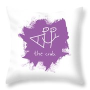 Happy The Crab - Purple Throw Pillow