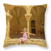 Happy Tourist Visits Coimbra Throw Pillow