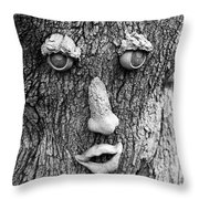 Happy Tree In Black And White Throw Pillow