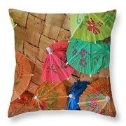 Happy Umbrellas Throw Pillow