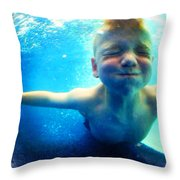 Happy Under Water Pool Boy Square Throw Pillow
