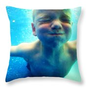 Happy Under Water Pool Boy Vertical Throw Pillow