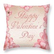 Happy Valentine Pink Heart Throw Pillow