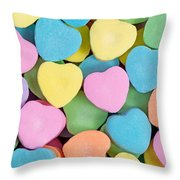 Happy Valentines Day With Colorful Heart Shaped Candies Throw Pillow