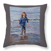 Happy With Sea And Sand Throw Pillow