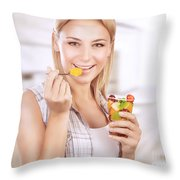 Happy Woman Eat Fruit Salad Throw Pillow