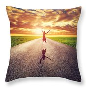 Happy Woman Jumping On Long Straight Road Throw Pillow