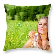 Happy Woman Outdoors Throw Pillow