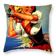 Happy Woman With Flowers, Festival In Ventimiglia, Italy Throw Pillow