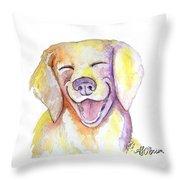Happy Yellow Dog Throw Pillow