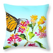 Happy Butterfly Throw Pillow
