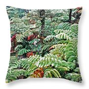 Hapu'u Fern Rainforest Throw Pillow