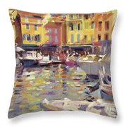Harbor At Cassis Throw Pillow