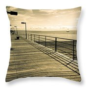 Harbor Beach Michigan Boardwalk Throw Pillow