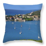Harbor Blues Throw Pillow