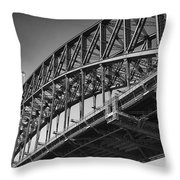Harbor Bridge In Black And White Throw Pillow by Yew Kwang