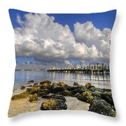 Harbor Clouds At Boynton Beach Inlet Throw Pillow
