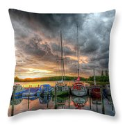 Harbor Fire Reflections Throw Pillow