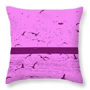 Harbor Gulls Purple Throw Pillow