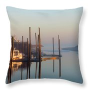 Harbor In Fog Throw Pillow