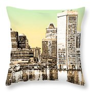 Harbor Lights From Federal Hill - Drawing Fx Throw Pillow