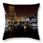Harbor Nights - Trade Center In Focus Throw Pillow