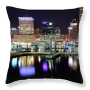 Harbor Nights In Baltimore Throw Pillow