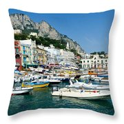 Harbor Of Isle Of Capri Throw Pillow by Jon Berghoff