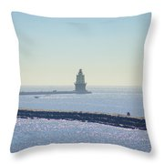 Harbor Of Refuge Lighthouse  Lewes Delaware Throw Pillow
