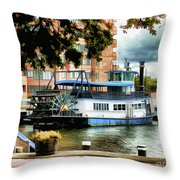 Harbor Park Ferry 5 Throw Pillow by Lanjee Chee