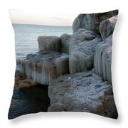 Harbor Rocks In Ice Throw Pillow by Kathy DesJardins