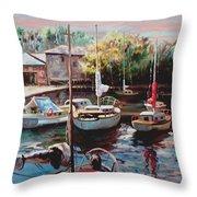 Harbor Sailboats At Rest Throw Pillow