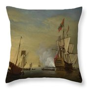Harbor Scene An English Ship With Sails Loosened Firing A Gun Throw Pillow